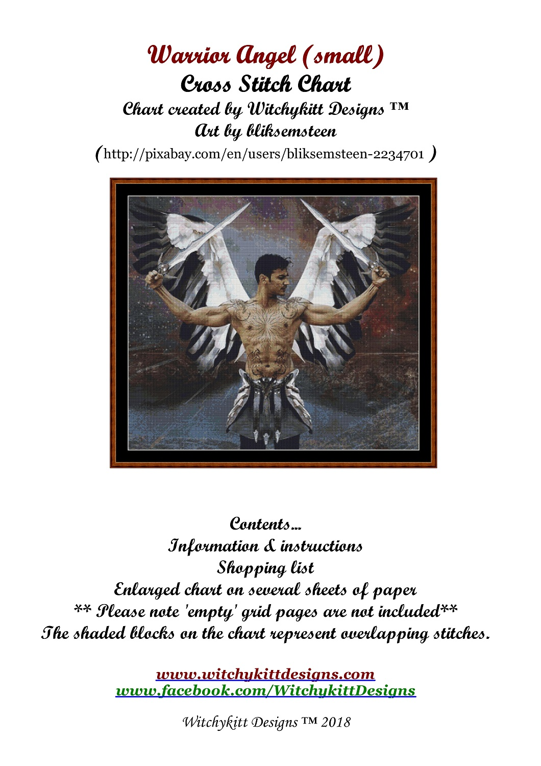 Warrior Angel Cross Stitch - Click Image to Close