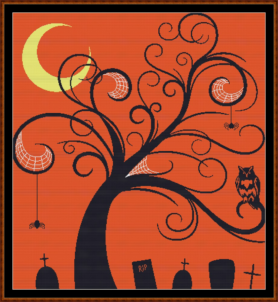 Halloween Tree Cross Stitch