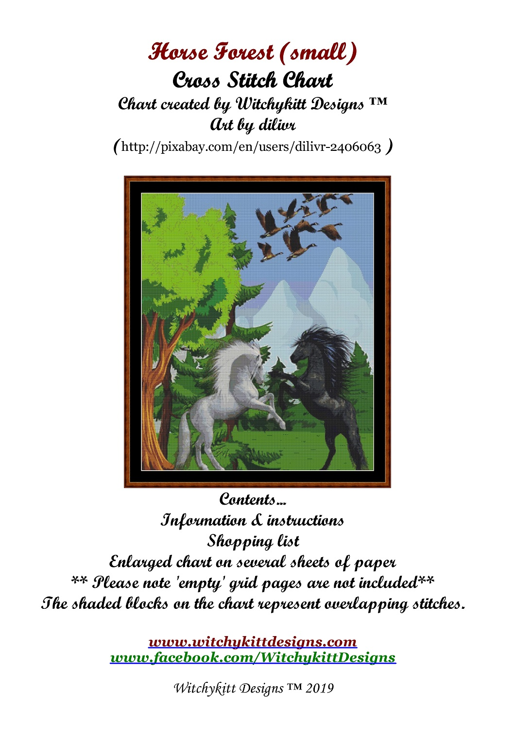 Horse Forest Cross Stitch - Click Image to Close