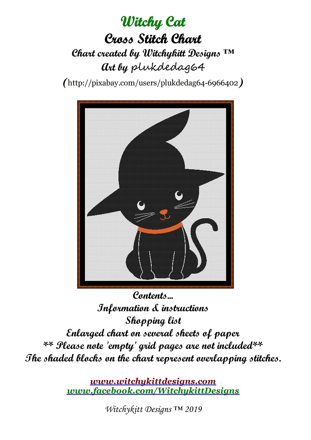 Witchy Cat Cross Stitch - Click Image to Close