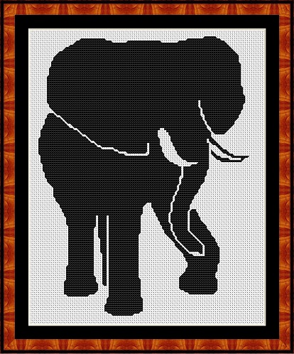 Silhouette - Elephant Cross Stitch