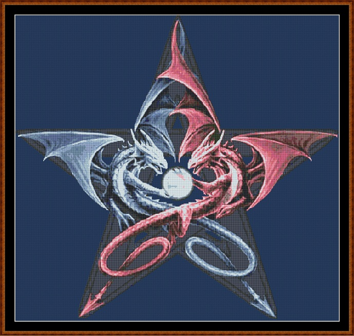 Home :: Oriental :: Yin Yang Dragon Pentacle Cross Stitch