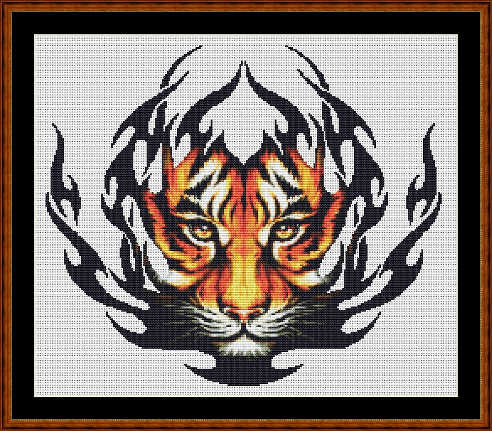 Tribal Designs - Tiger Cross Stitch