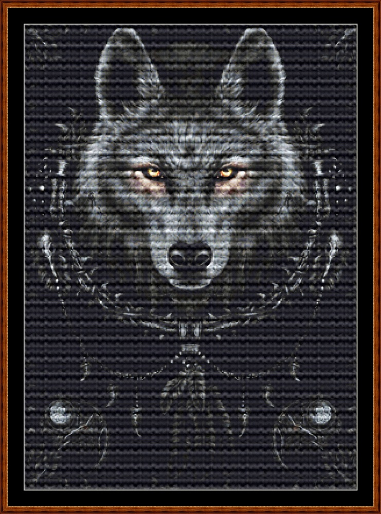 Protection Of The Wolf Cross Stitch