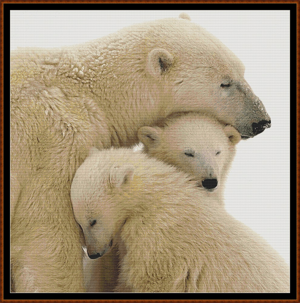 Polar Bear Family Cross Stitch