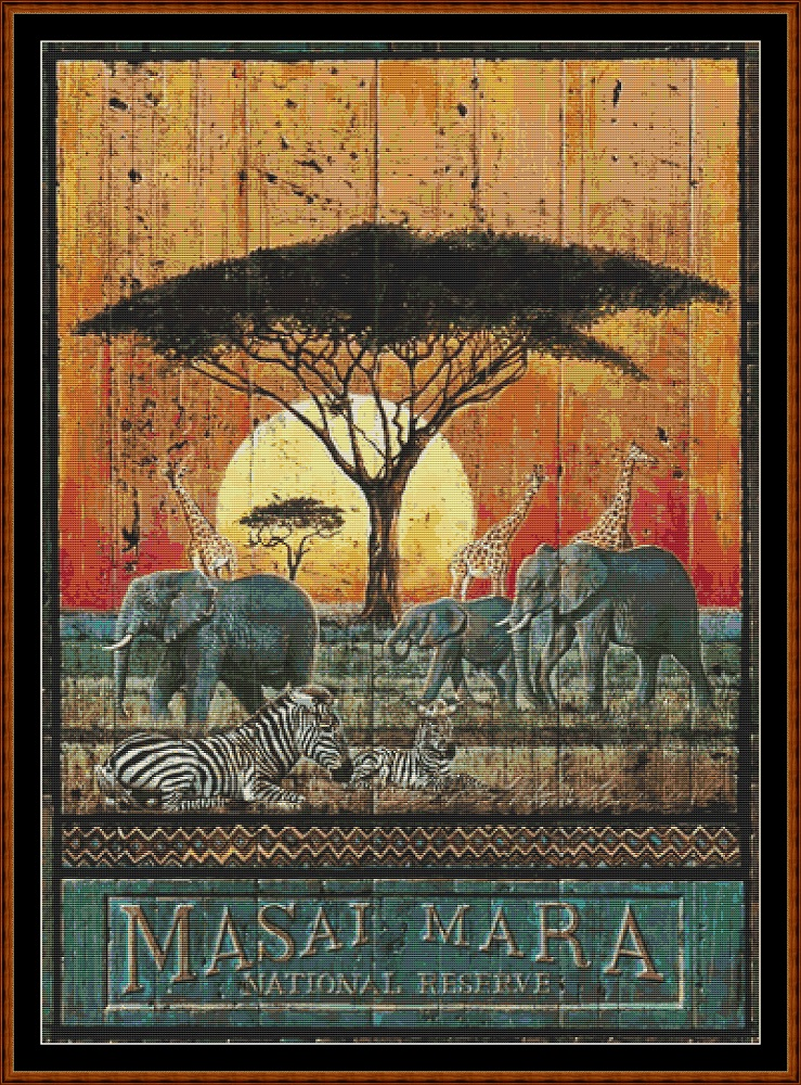 Masai Mara Wooden Wall Hanging Cross Stitch