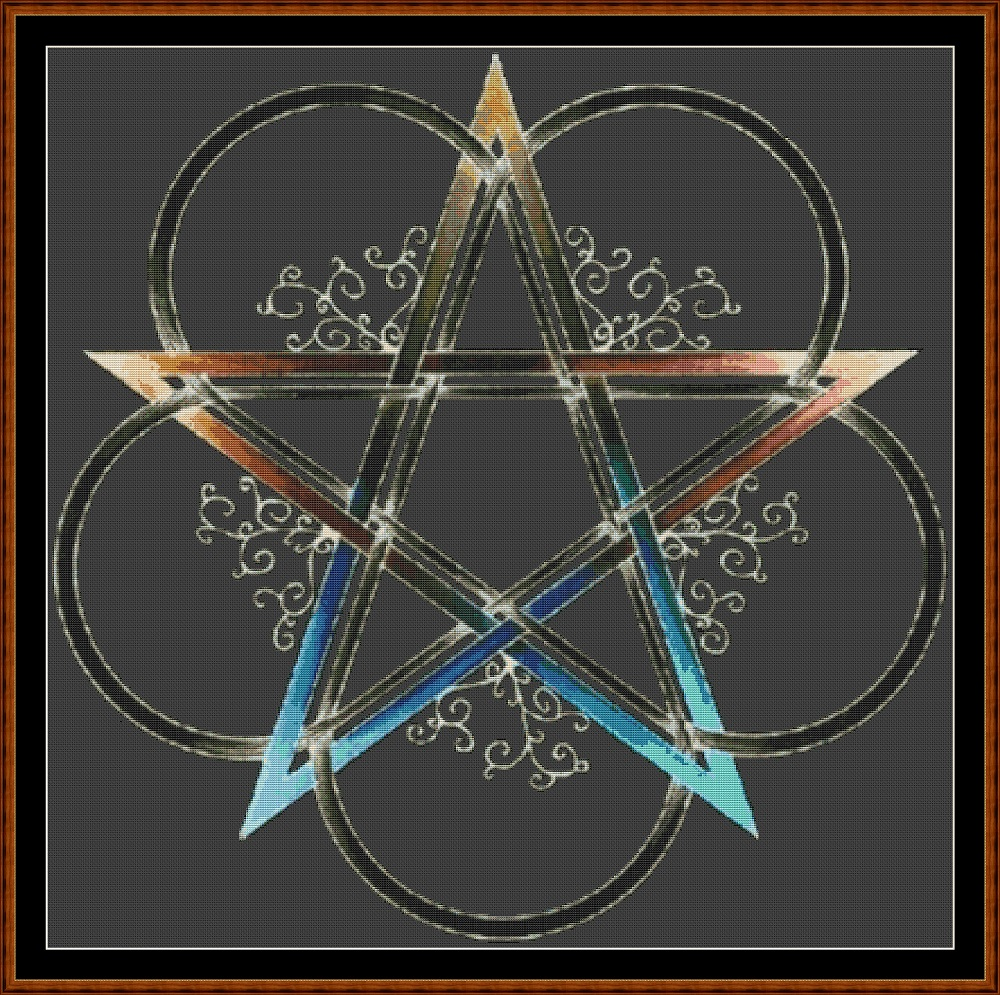 Flowered Pentagram Cross Stitch