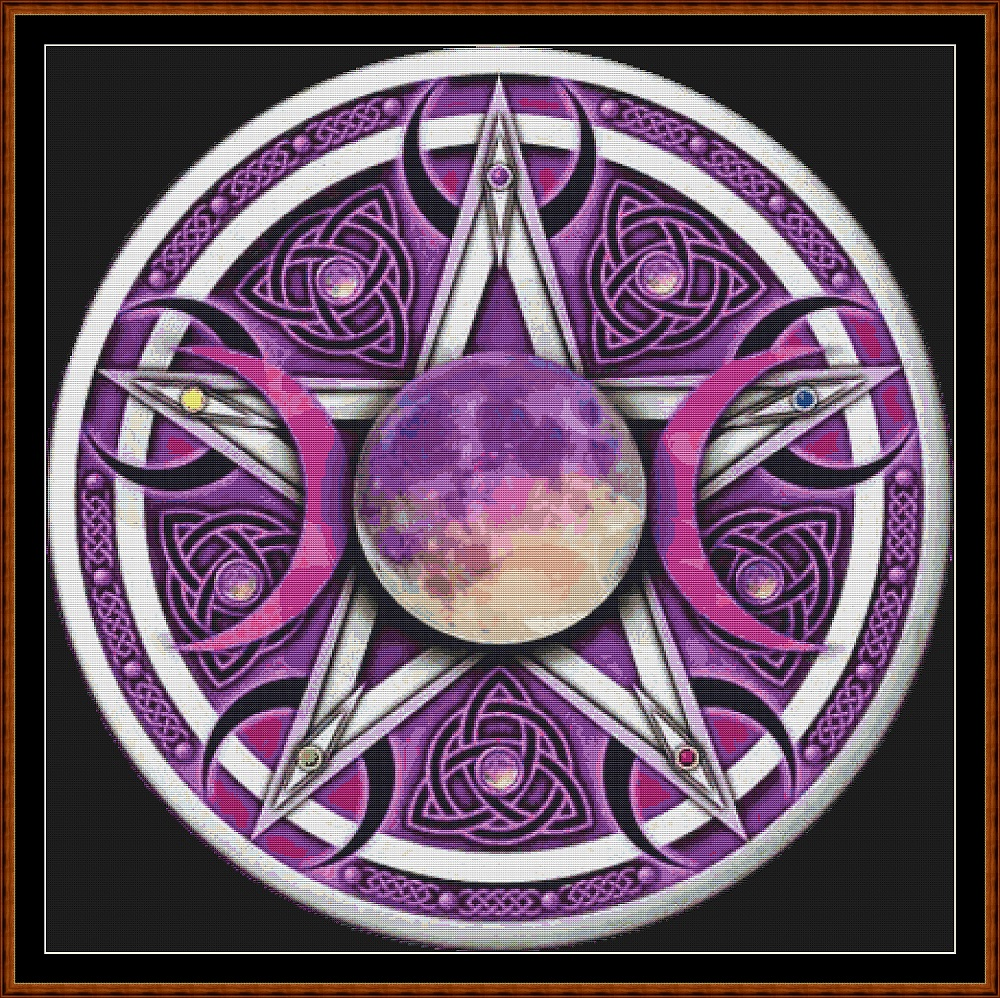 Triple Moon Pentagram Cross Stitch