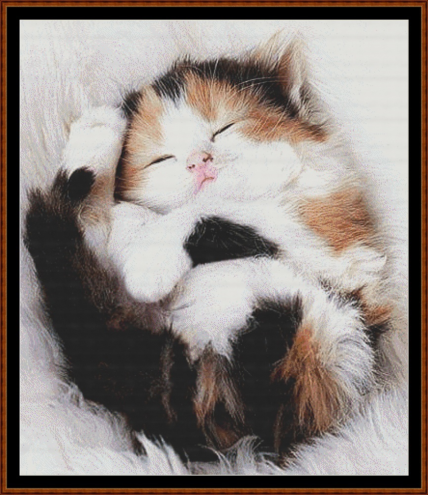 Sleepy Kitten 2 Cross Stitch