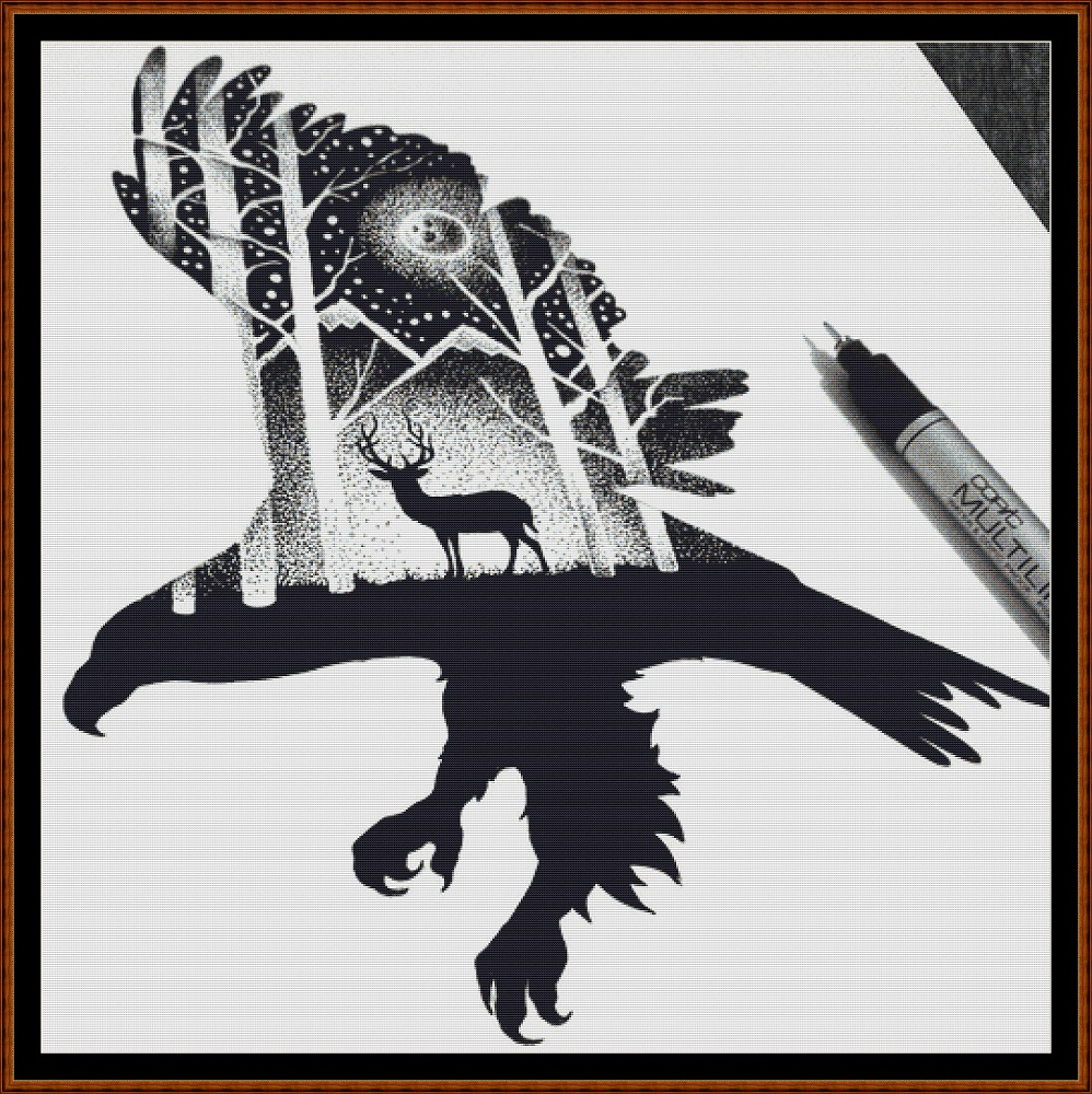 Eagle Silhouette Cross Stitch
