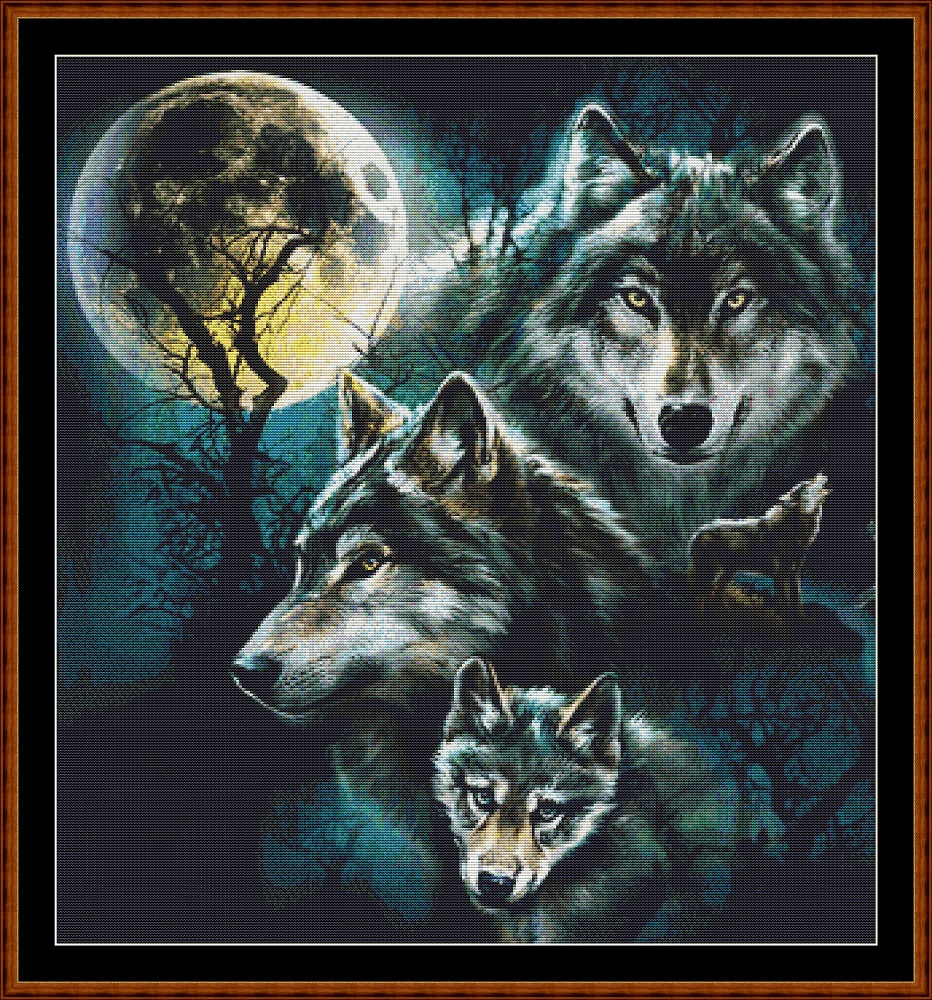 Faces Of The Wolf (SMALL) Cross Stitch