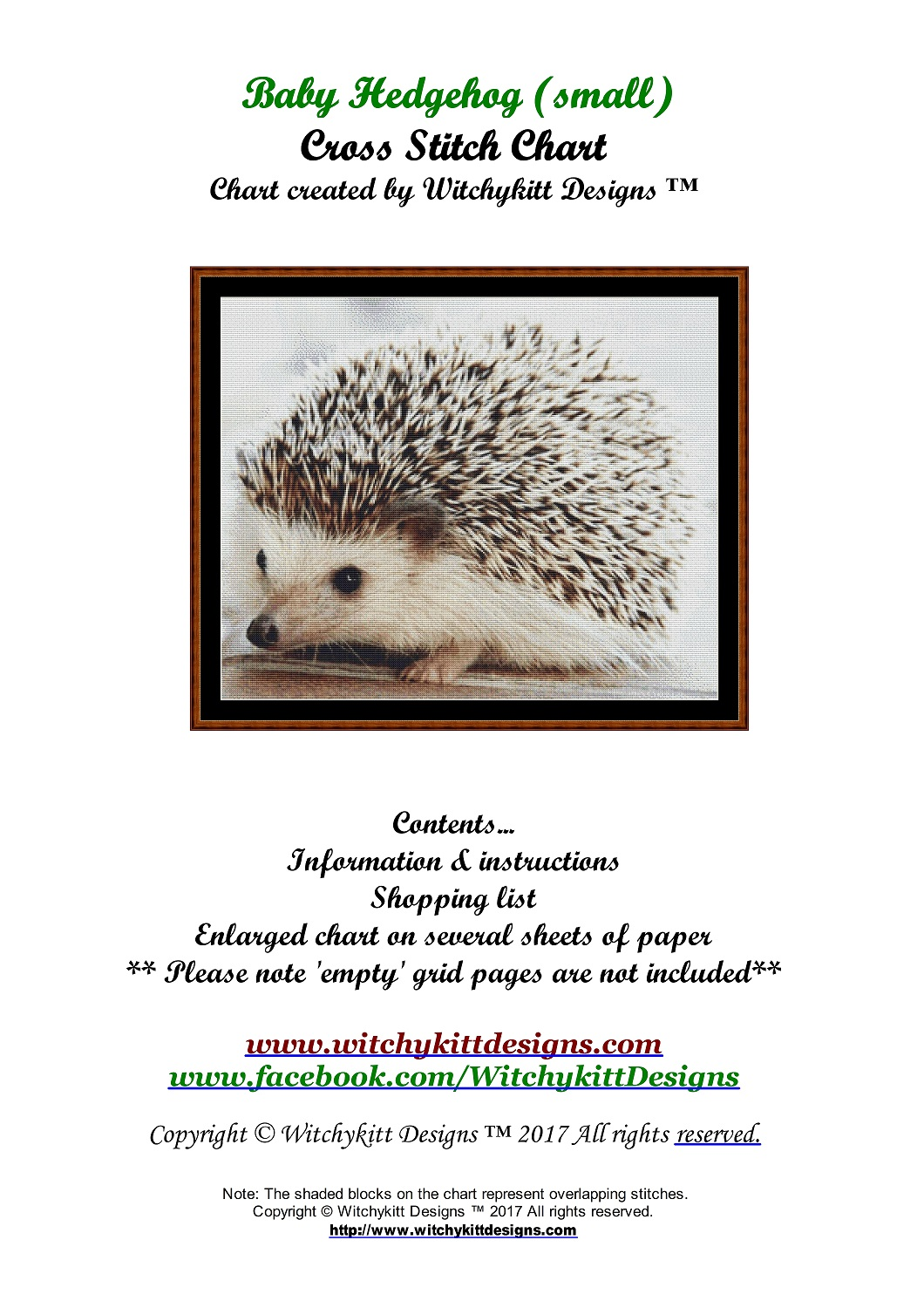 Baby Hedgehog (SMALL) Cross Stitch - Click Image to Close
