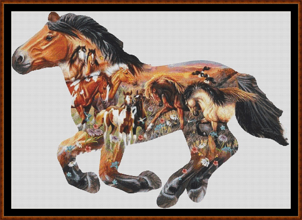 Horse Collage Cross Stitch