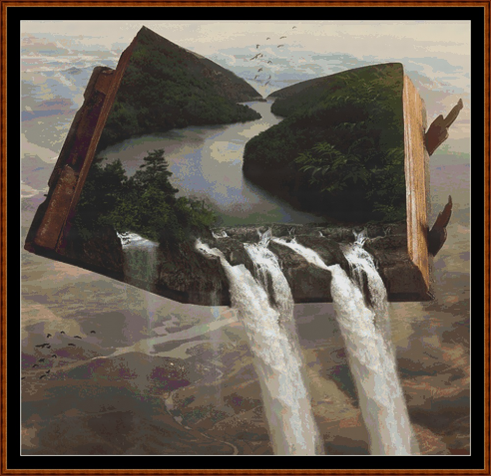 Waterfall Book Cross Stitch