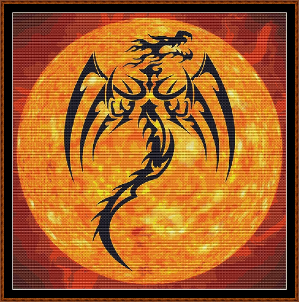 Dragon Sun Cross Stitch