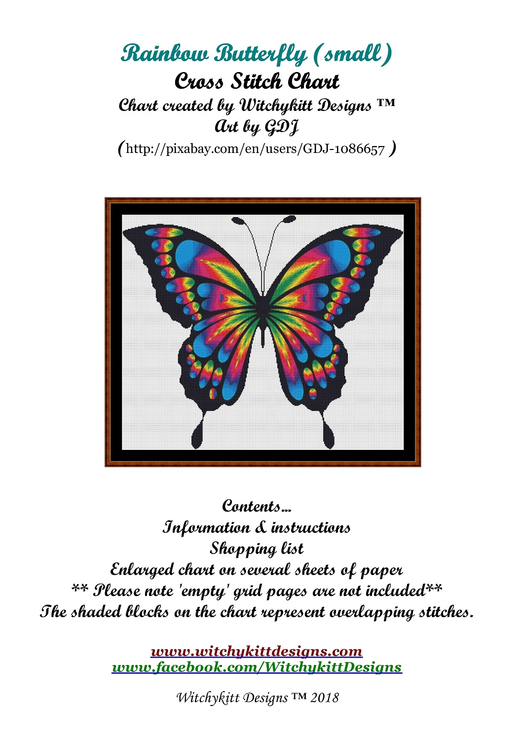 Rainbow Butterfly Cross Stitch