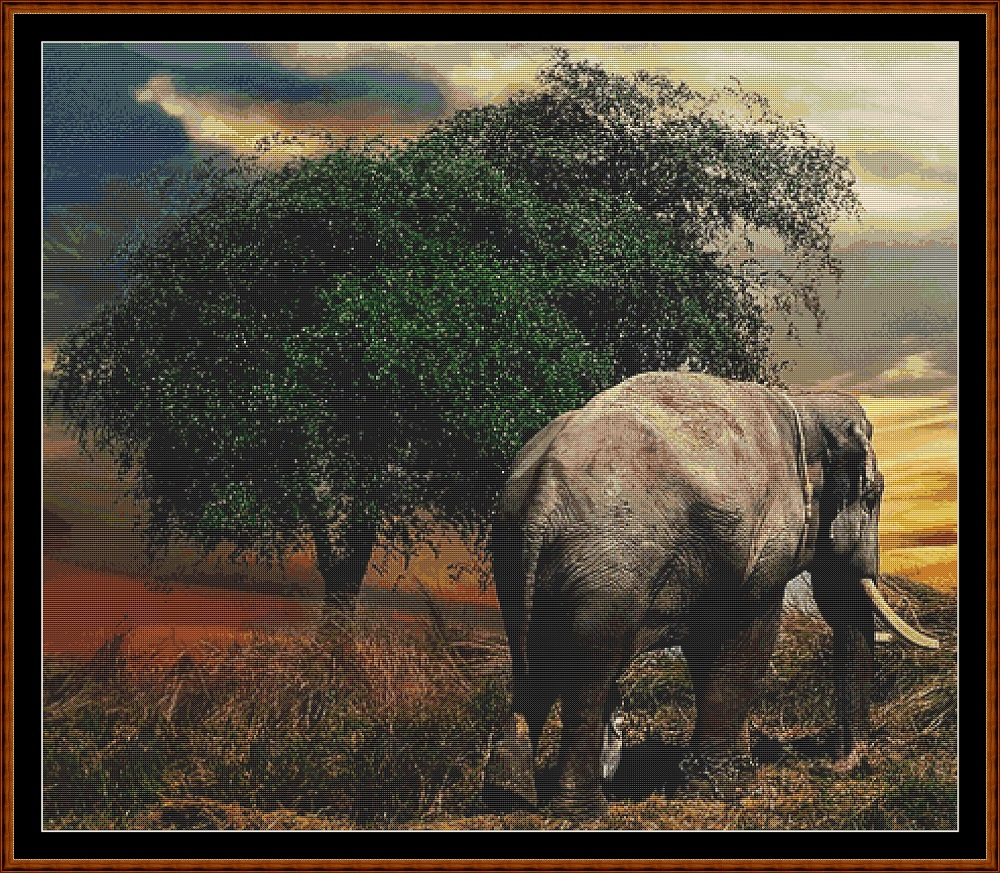 Elephant Tree Cross Stitch