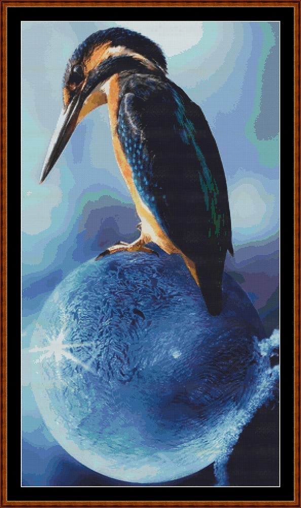 Kingfisher Perch Cross Stitch