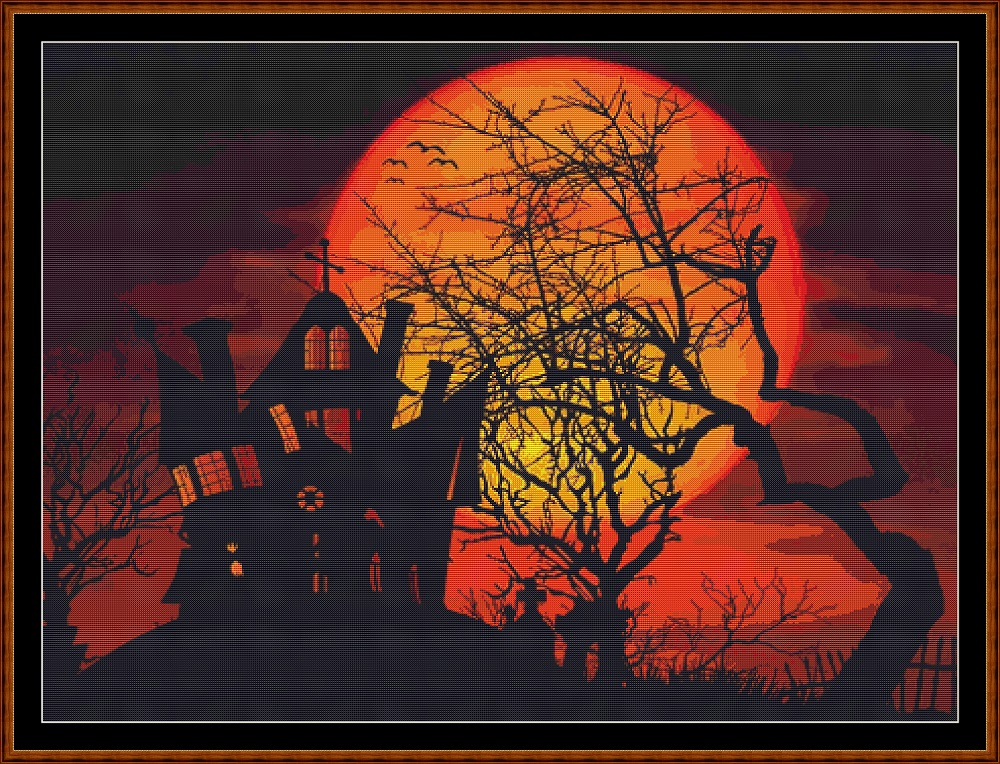 Halloween Sunset Cross Stitch
