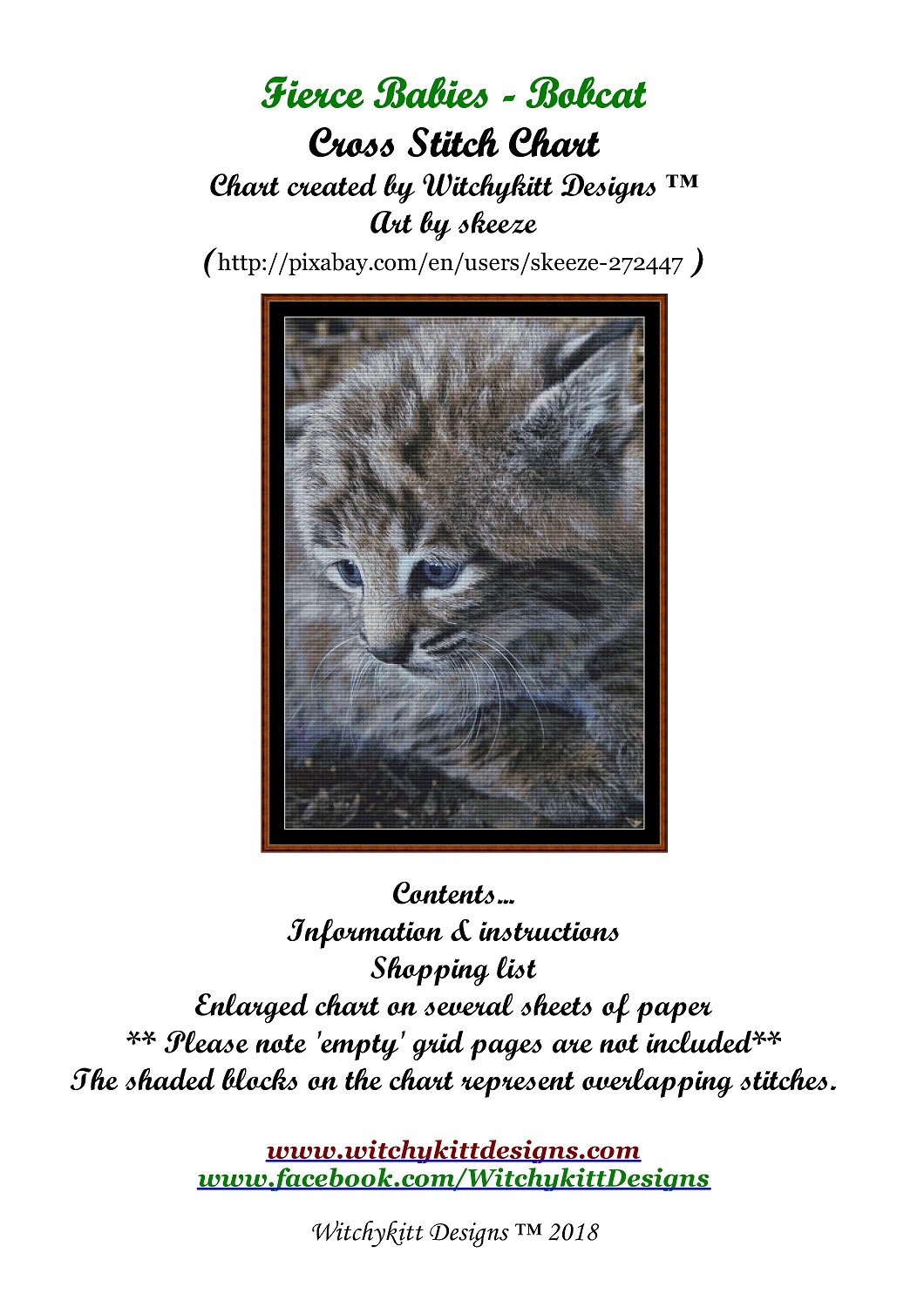 Fierce Babies - Bobcat Cross Stitch