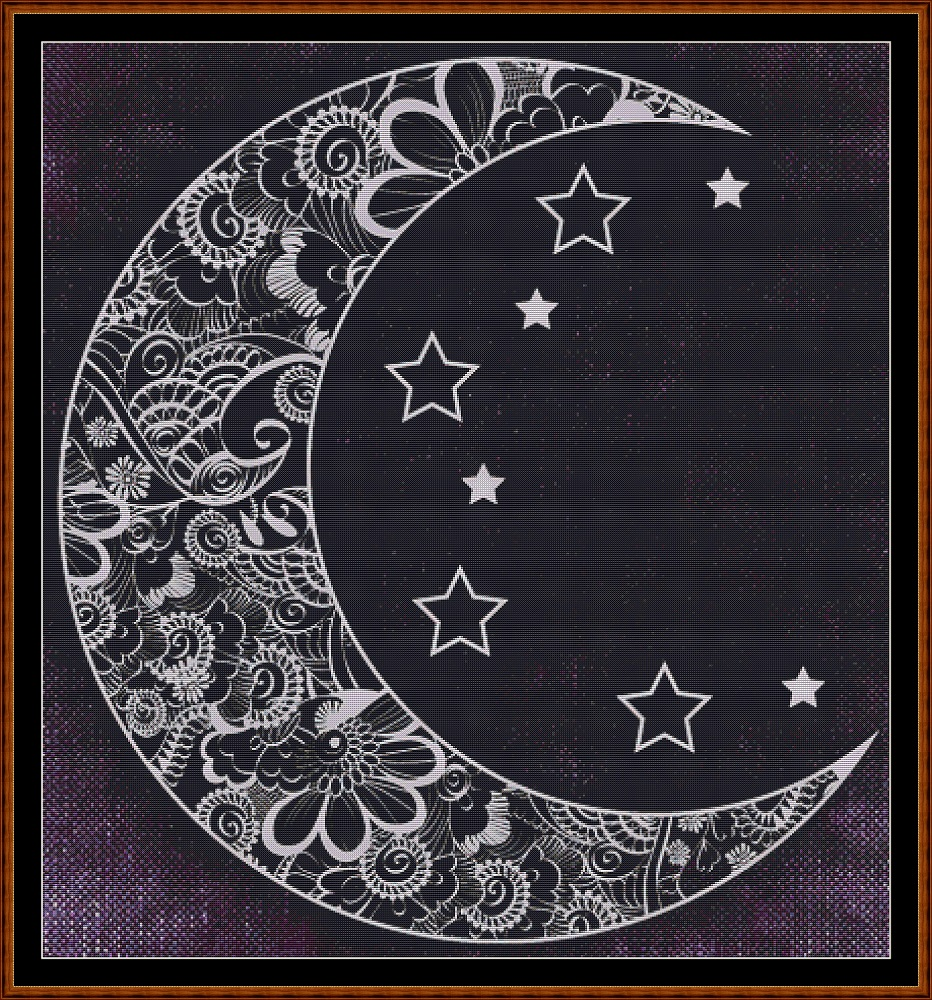 Patterned Moon Cross Stitch