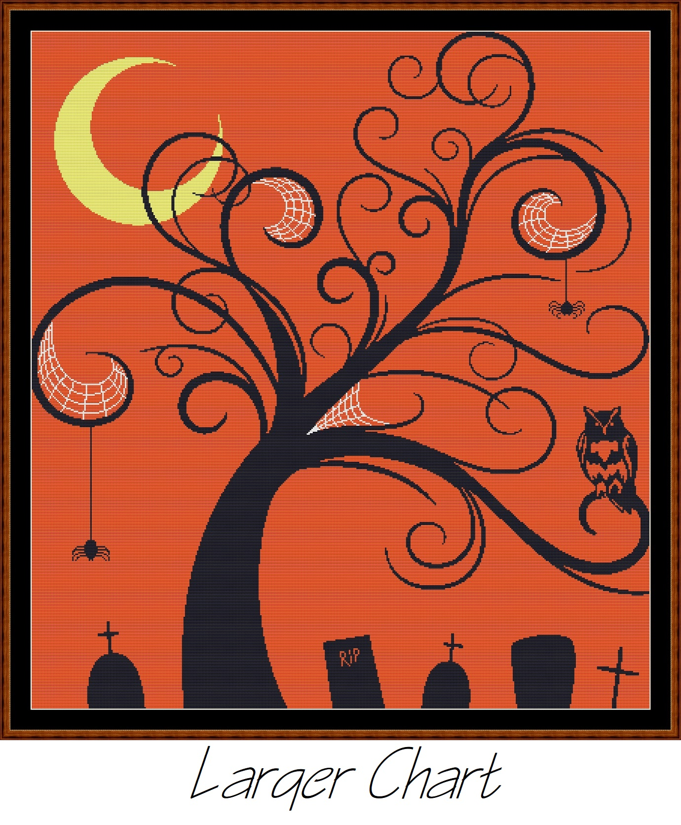 Halloween Tree Cross Stitch - Click Image to Close