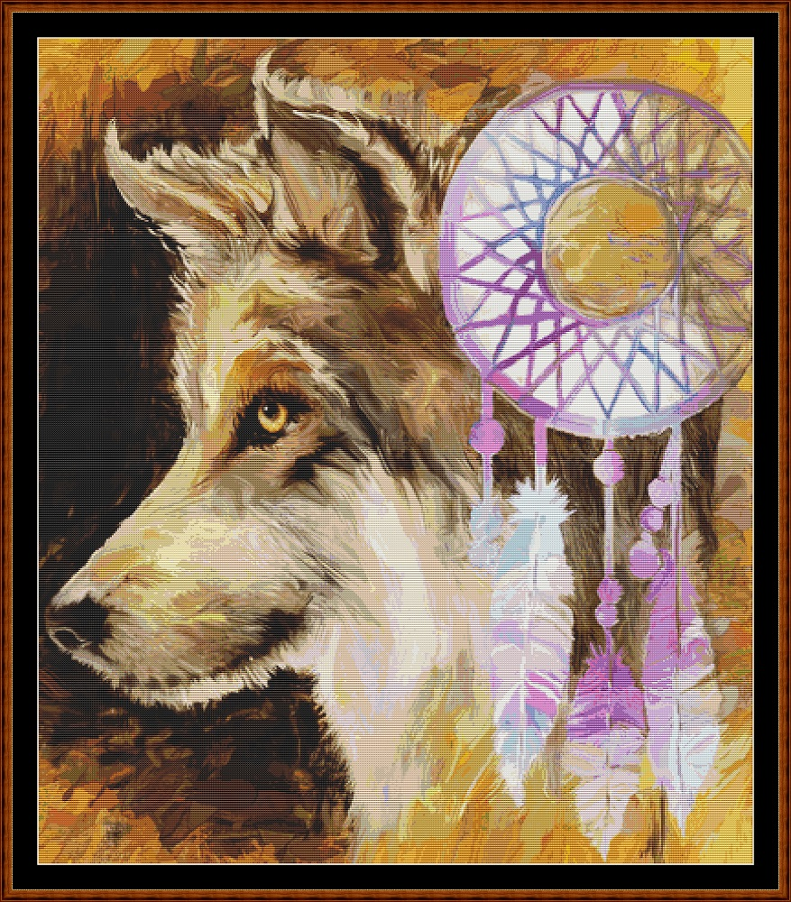 Wolf Dreaming Cross Stitch