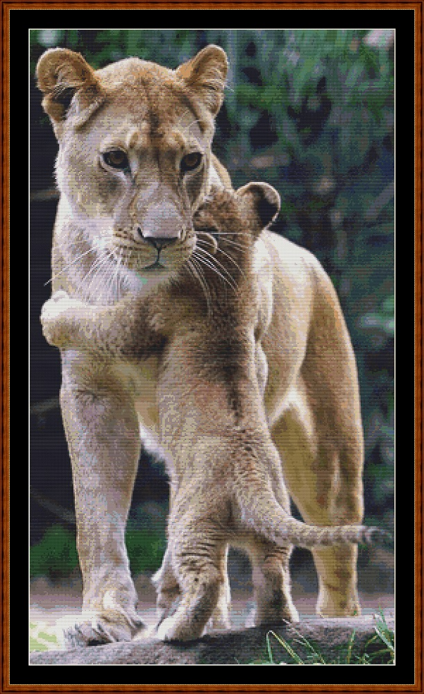 Mama's Hug - Lion Cross Stitch