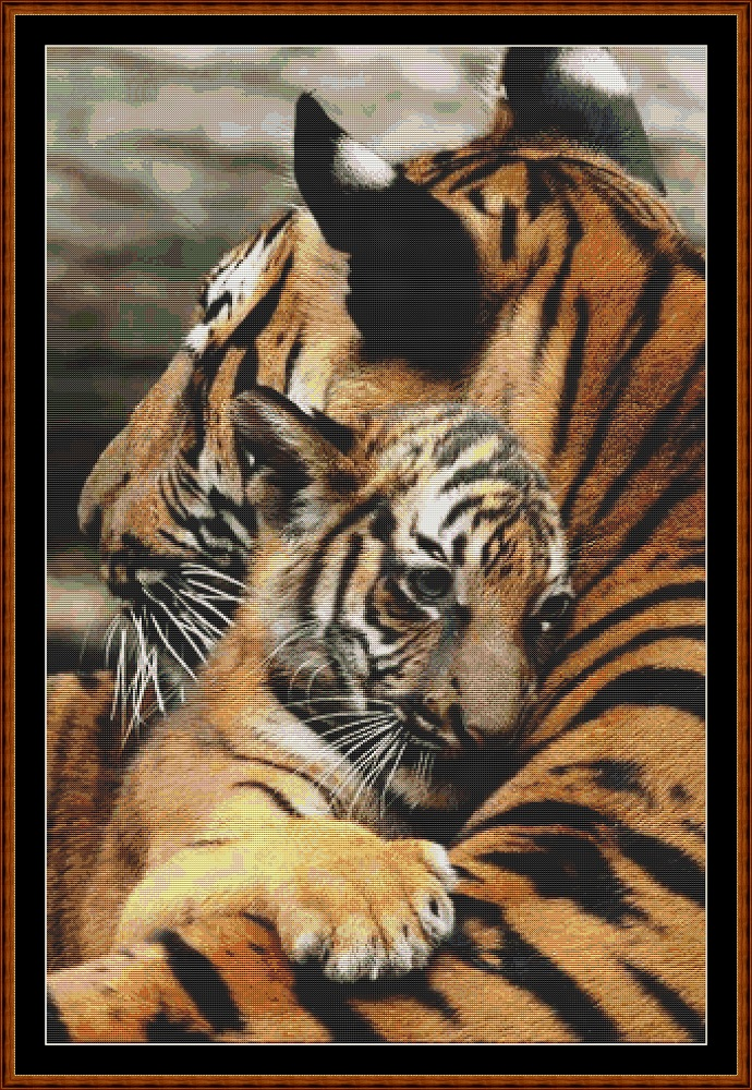 Mama's Hug - Tiger Cross Stitch
