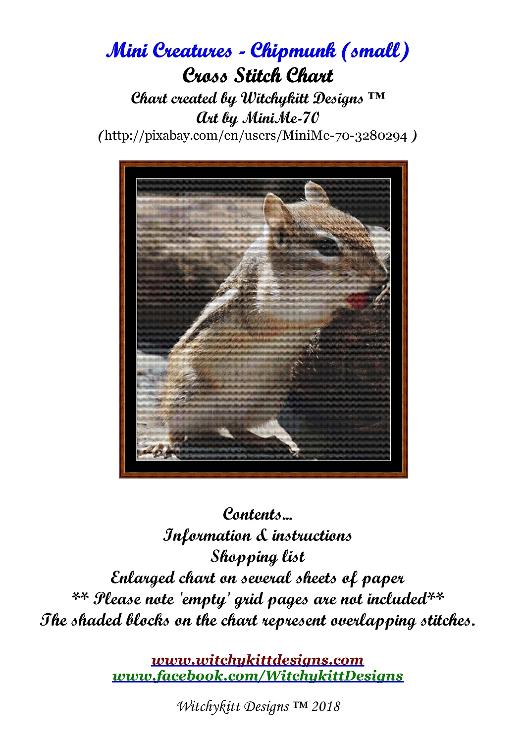 Mini Creatures - Chipmunk Cross Stitch - Click Image to Close