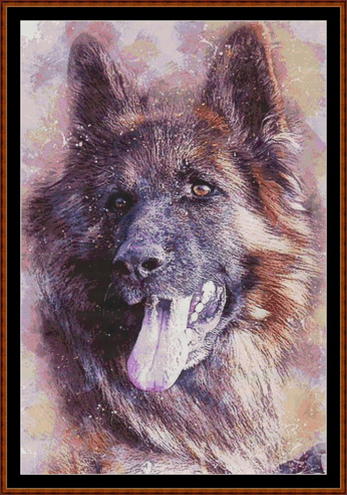 German Shepherd Portrait Cross Stitch