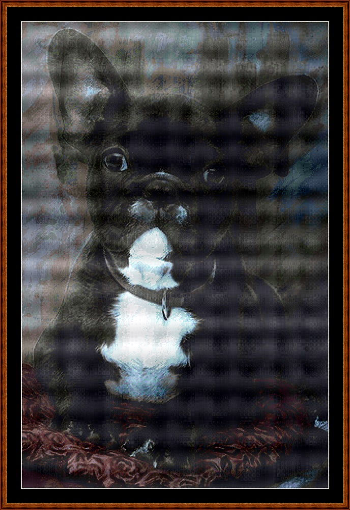 Bulldog Portrait Cross Stitch