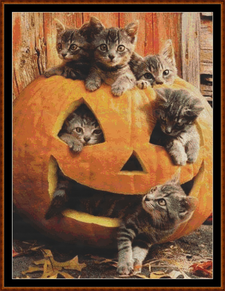 Pumpkin Kitties Cross Stitch