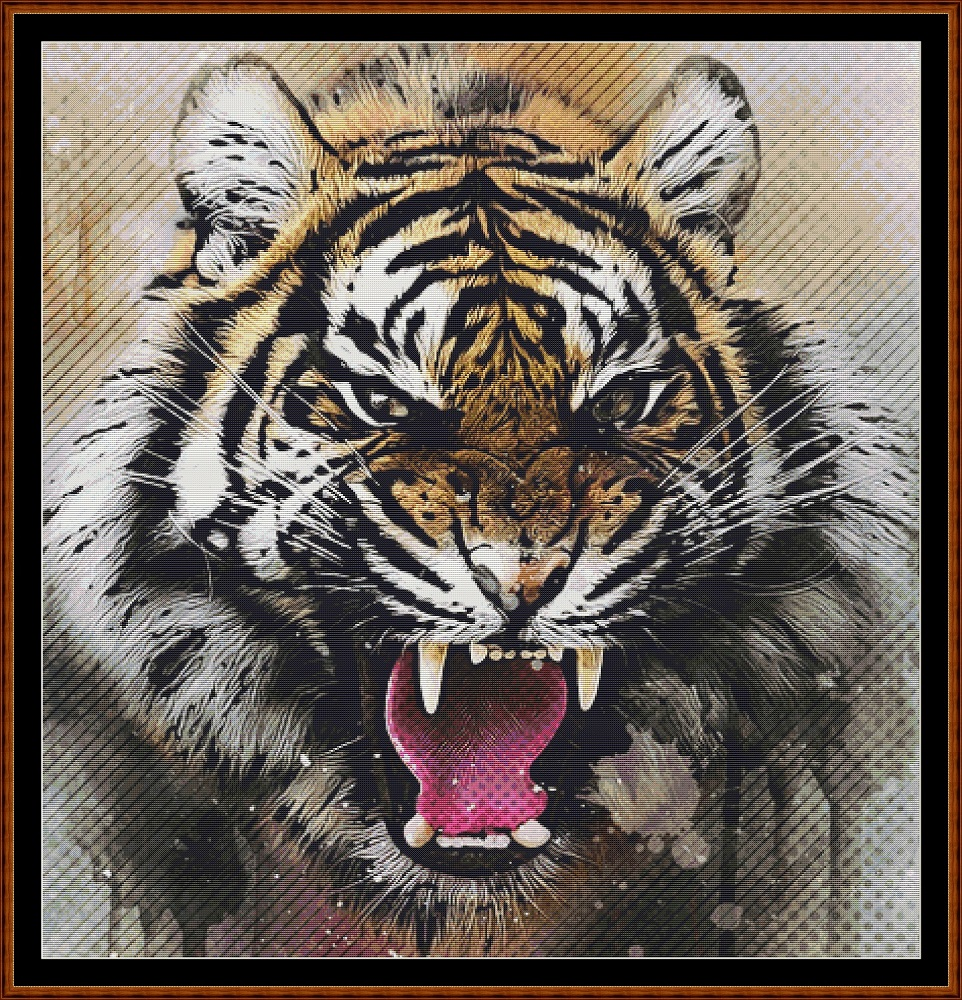 Tiger Portrait Cross Stitch