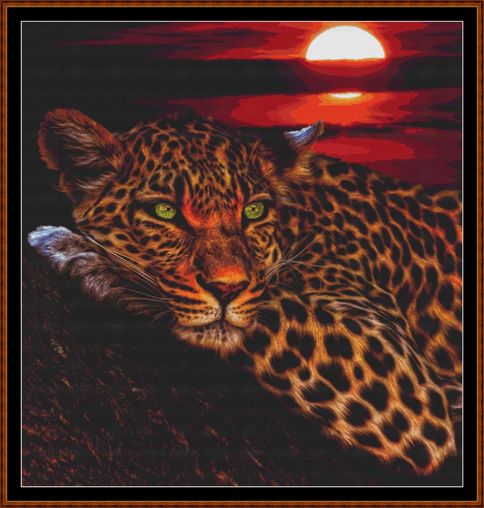 Sunset Leopard Cross Stitch