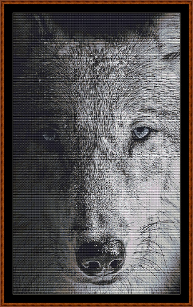Dark Portrait - Wolf Cross Stitch