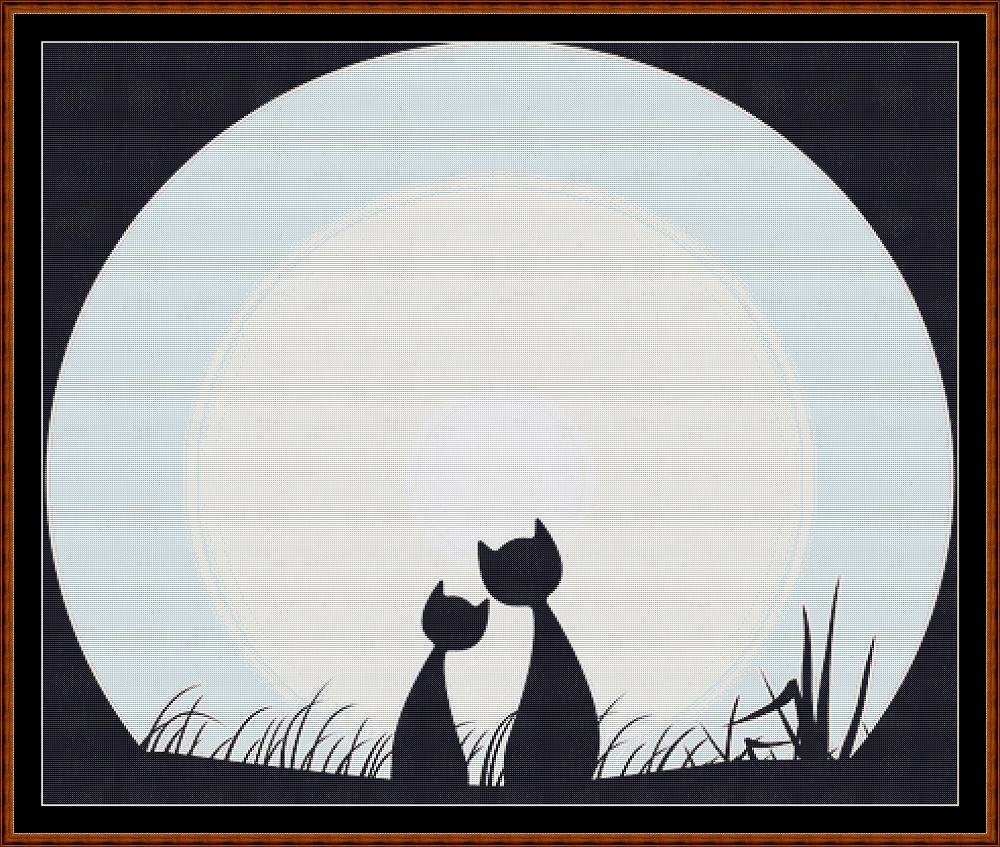 Cat Moon Cross Stitch