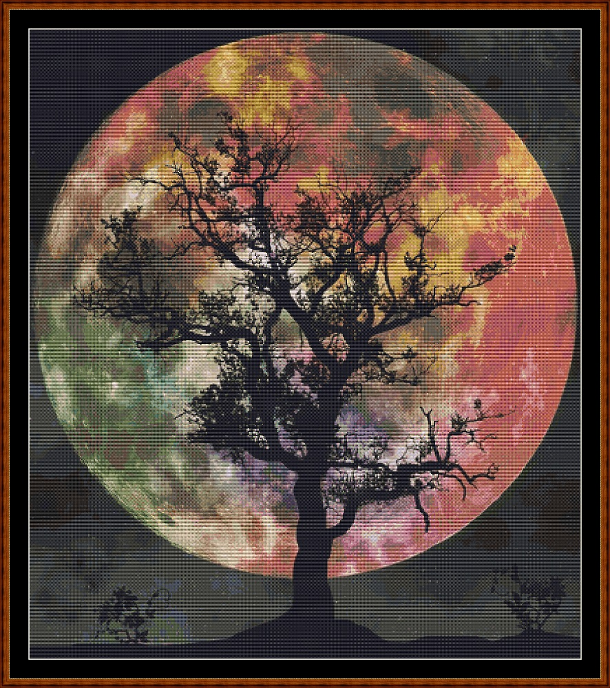 Moonlight Silhouette Cross Stitch