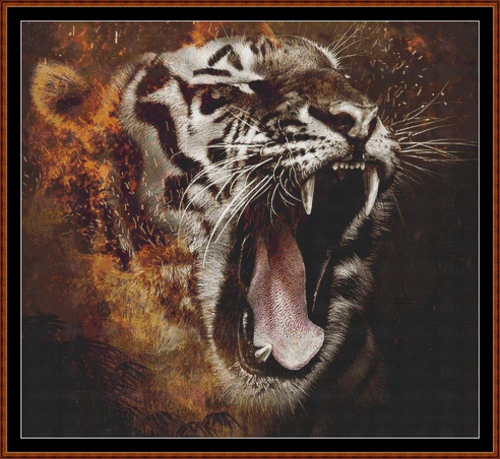 Wild Faces - White Tiger Cross Stitch