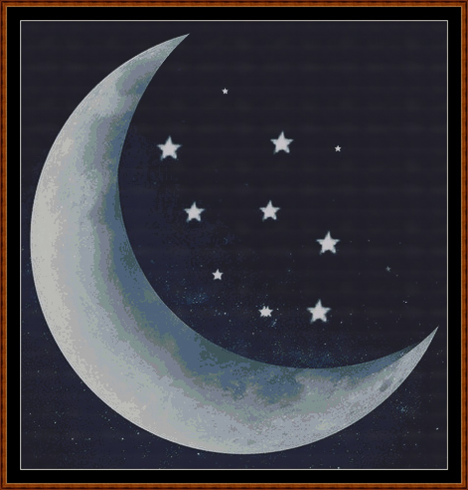 Moonlight Stars Cross Stitch