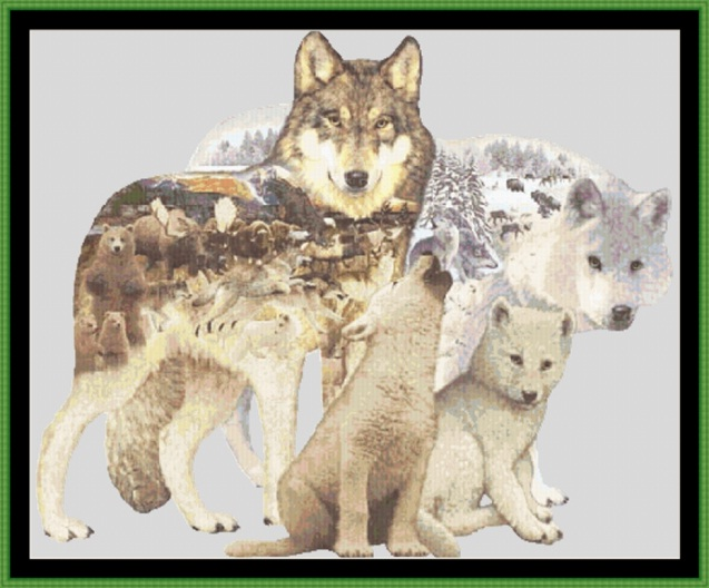 Arctic Wolf Family Cross Stitch