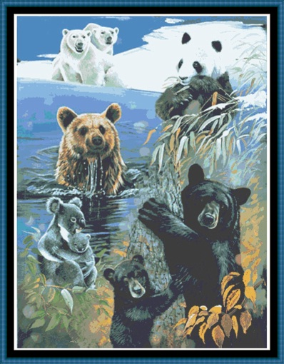 Bears Of The World Cross Stitch