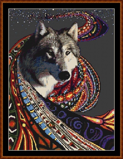 Cosmic Wolf Cross Stitch