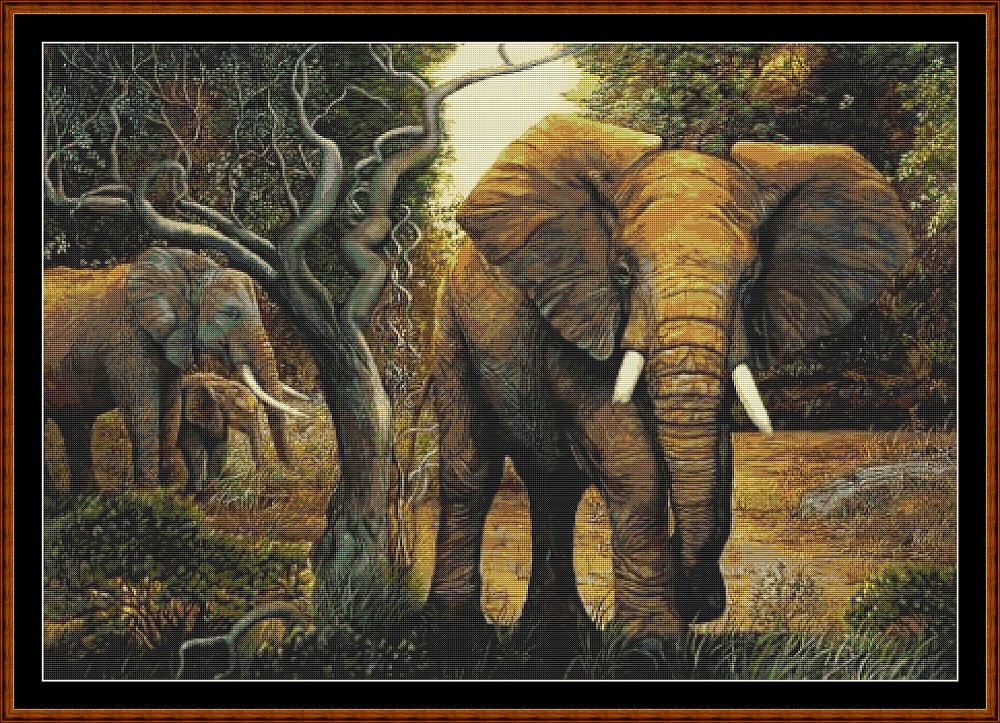 Elephants Cross Stitch
