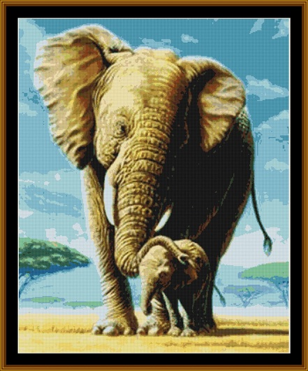 Elephant Mum & Pup Sunset Cross Stitch