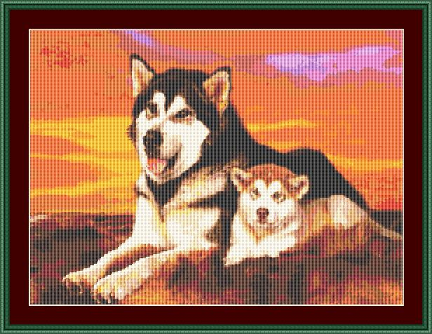 Husky Mum & Pup Cross Stitch