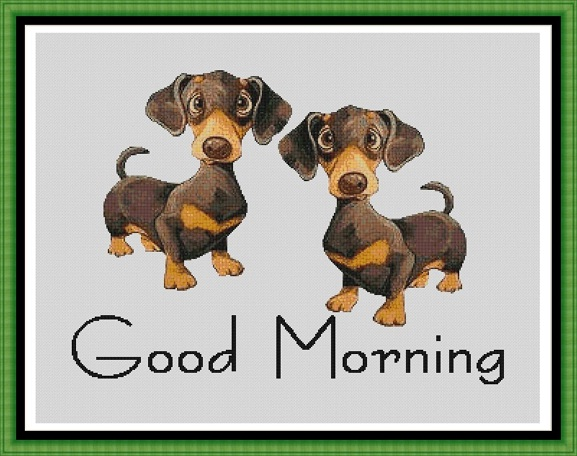 Morning Dogs Cross Stitch