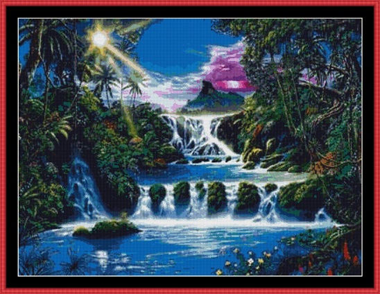 Mystical Waterfall Cross Stitch