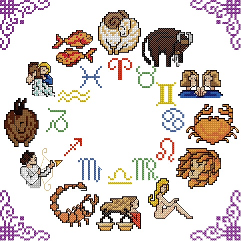 Western Zodiac Circle Cross Stitch