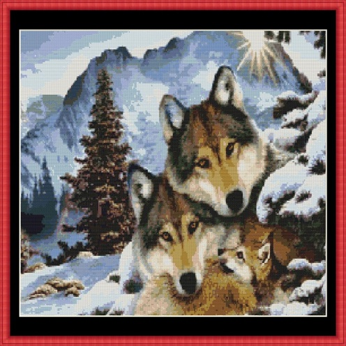 Wolf Harmony Cross Stitch